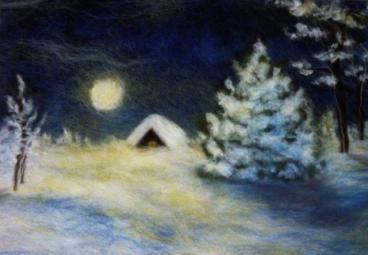 """Картина из шерсти  """"Зимняя сказка """" методом валяния.  Прочитать целикомВ."""